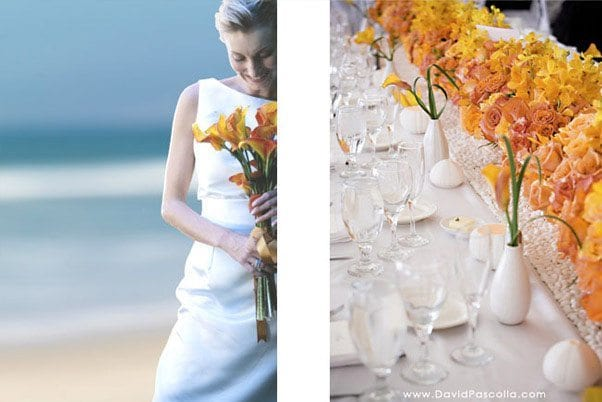Yellow wedding decoration and bride at The Cliffs